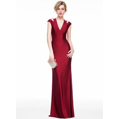Sheath/Column V-neck Floor-Length Jersey Evening Dress