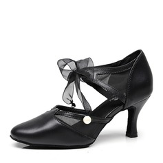 Women's Real Leather Heels Ballroom With Imitation Pearl Lace-up Dance Shoes