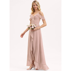 V-Neck Dusty Rose Chiffon Dresses (293237645)