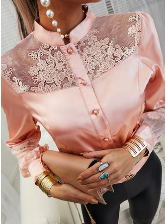 Lace Solid Stand collar Lantern Sleeve Long Sleeves Button Up Casual Elegant Blouses