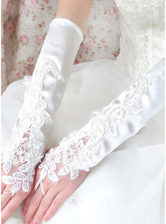 Lace Elbow Length Bridal Gloves With Embroidery