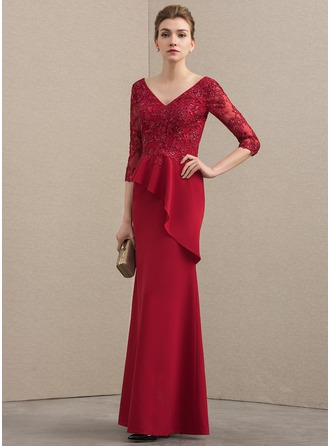 A-Line/Princess V-neck Floor-Length Satin Lace Mother of the Bride Dress With Beading Sequins Cascading Ruffles