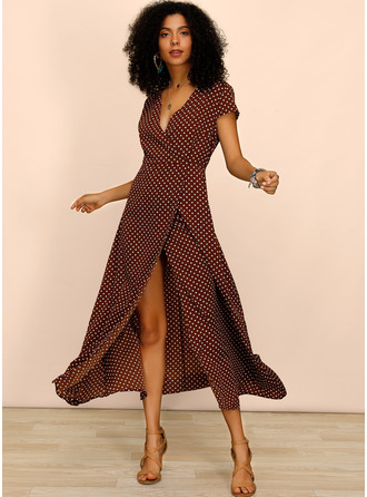 PolkaDot A-line Cap Sleeve Asymmetrical Casual Vacation Skater Dresses