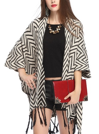 Striped Cold weather Acrylic Poncho