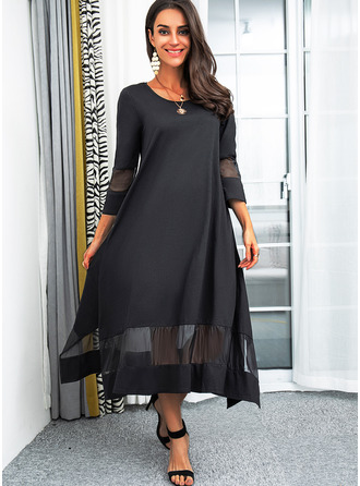 Solid Shift 3/4 Sleeves Midi Little Black Elegant Dresses
