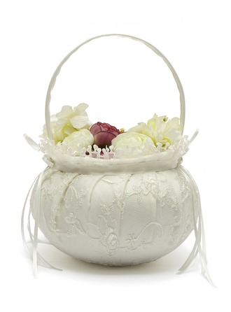 Satin With Lace Flower Basket