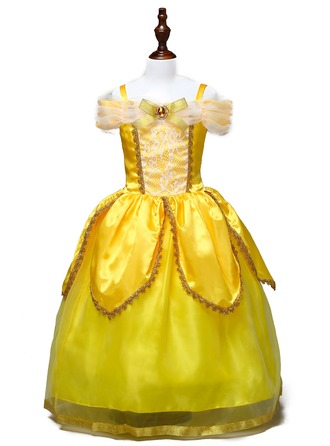 A-Line/Princess Ankle-length Flower Girl Dress - Tulle/Polyester Sleeveless Bateau With Bow(s)