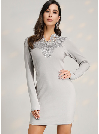 Above Knee V neck Polyester Lace/Knitting/Solid Long Sleeves Fashion Dresses