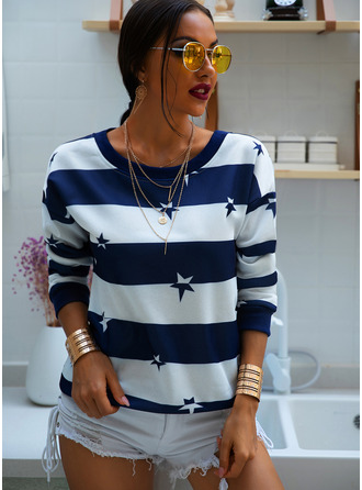 Color Block Print Striped Round Neck Long Sleeves Casual T-shirt
