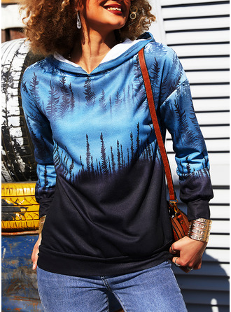 Print Forest Long Sleeves Hoodie (1001254347)