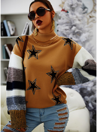 Round Neck Casual Sequins Color Block Print Sweaters