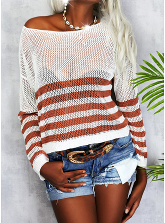 Round Neck Casual Striped Sweaters