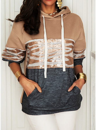 Color Block Sequins Long Sleeves Hoodie