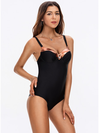 One-piece Polyester Spandex Solid Color Splice color Women's Yes Swimwear