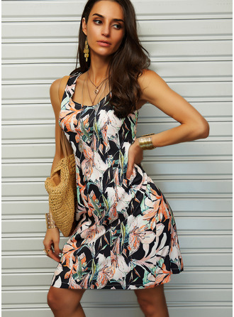 Floral Print Sheath Sleeveless Midi Casual Vacation Tank Dresses