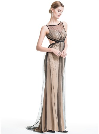 Trumpet/Mermaid Scoop Neck Sweep Train Tulle Evening Dress With Beading