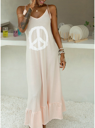 Print Shift Sleeveless Maxi Casual Sexy Vacation Type Dresses