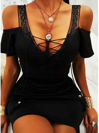 Lace Solid Bodycon Cold Shoulder Sleeve Short Sleeves Mini Little Black Casual Sexy Dresses