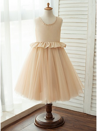 A-Line/Princess Knee-length Flower Girl Dress - Tulle Sleeveless Scoop Neck