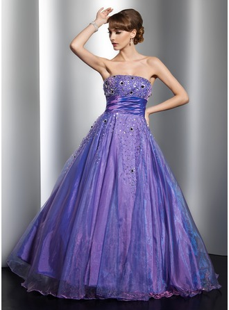 eb65090f162 Ball-Gown Strapless Floor-Length Organza Quinceanera Dress With Beading