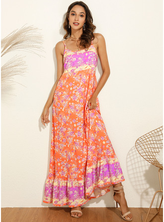 Maxi Spaghetti Straps Cotton Print Sleeveless Fashion Dresses