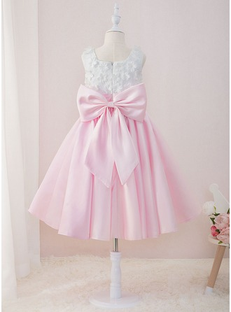 Ball-Gown/Princess Tea-length Flower Girl Dress - Satin/Lace Sleeveless Square Neckline With Beading/Flower(s)/Bow(s)