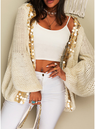 Casual Sequins Chunky knit Sweaters
