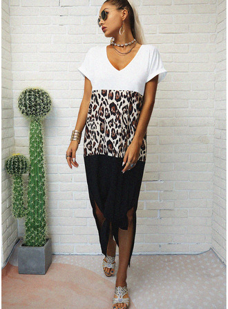 Leopard Color Block Shift Short Sleeves Maxi Casual T-shirt Dresses