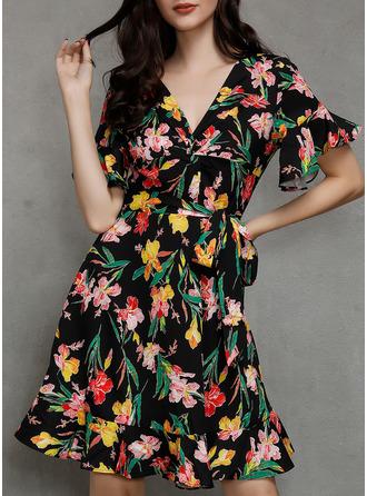Floral Print A-line Flare Sleeve Short Sleeves Mini Boho Casual Vacation Skater Wrap Dresses