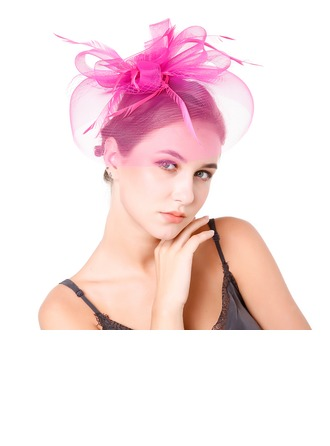 Dames Charme Feather/Fil net avec Feather Chapeaux de type fascinator