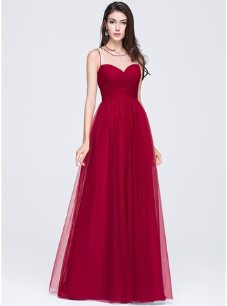 A-Line/Princess Scoop Neck Floor-Length Tulle Prom Dress With Ruffle Beading Flower(s) Sequins