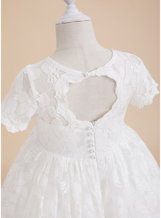 A-Line Scoop Neck Knee-length With Back Hole Short Sleeves Flower Girl Dress