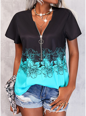 Color Block Floral Print V-Neck Short Sleeves Casual Blouses