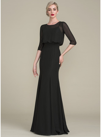 Trumpet/Mermaid Scoop Neck Floor-Length Chiffon Mother of the Bride Dress With Ruffle
