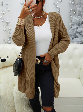 Hooded Casual Long Solid Ribbed Sweaters