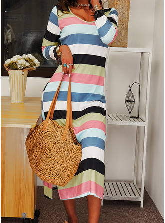 Striped Shift Long Sleeves Maxi Casual Dresses
