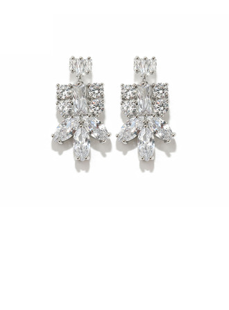 Ladies' Sparking Copper/Cubic Zirconia With Marquise Cubic Zirconia Earrings For Her
