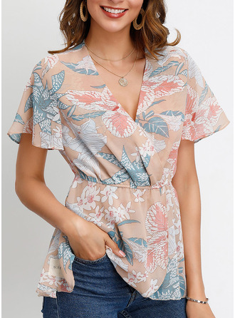 Print V-Neck Flare Sleeve Short Sleeves Casual Elegant