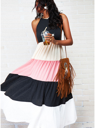 Color Block A-line Sleeveless Maxi Casual Type Dresses
