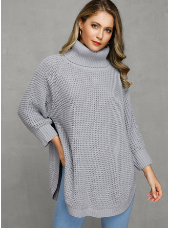 Turtleneck Polyester Long Sleeves Solid/Chunky knit/Waffle Knit Sweater Dress Fashion Dresses