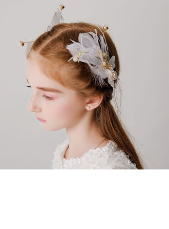 With Imitation Pearls/Feather Hairpins (Set of 2)