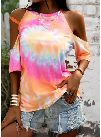 Tie Dye Cold Shoulder 1/2 Sleeves Casual