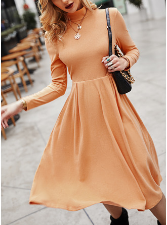 Solid A-line Long Sleeves Midi Elegant Skater Dresses