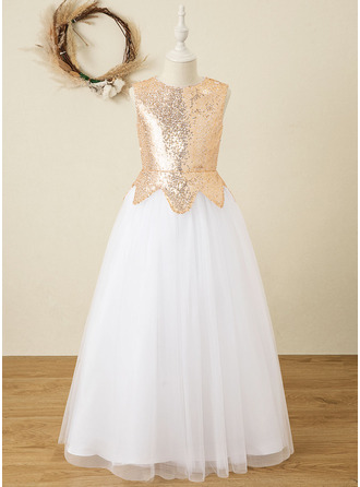 A-Line Floor-length Flower Girl Dress - Satin/Tulle/Sequined Sleeveless Scoop Neck