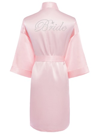 Personalized Bride Bridesmaid charmeuse With Knee-Length Personalized Robes Rhinestone Robes
