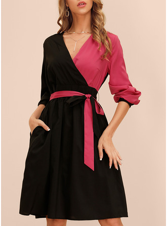 Color Block A-line Long Sleeves Midi Elegant Skater Wrap Dresses