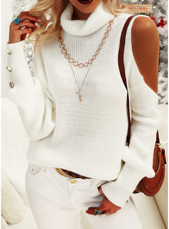 Cold Shoulder Turtleneck Casual Solid Sweaters