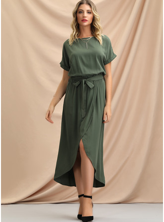 Solid A-line Short Sleeves Asymmetrical Casual Dresses