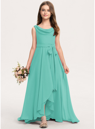 A-Line Cowl Neck Asymmetrical Chiffon Junior Bridesmaid Dress With Bow(s)