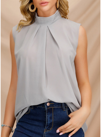 Solid Stand collar Sleeveless Casual Elegant Tank Tops